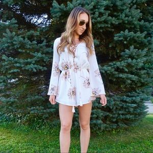 Pants - Floral Lace Up Romper